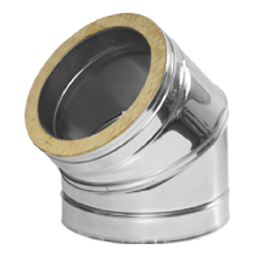 Twin Wall Flue 45 Deg Elbow 6 Inch Dia Stainless Finish