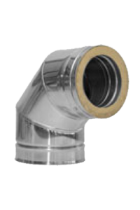Twin Wall flue 90 deg Elbow 6 inch Dia stainless Finish
