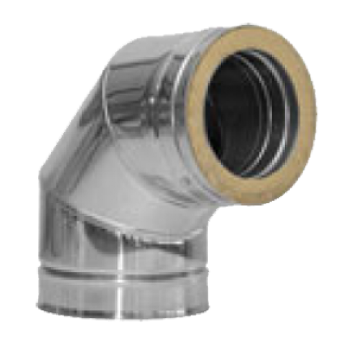 Twin Wall Flue 90 Deg Elbow 7 Inch Dia Stainless Finish